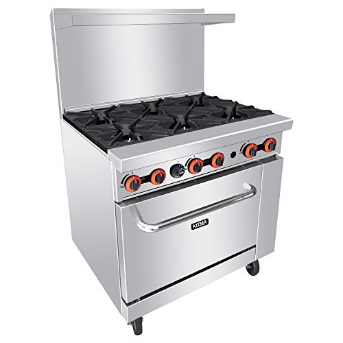 Heavy Duty 36''Gas 6 Burner Range With Standard Oven - Kitma Liquid Propane Cooking Performance Group for Kitchen Restaurant, 165,000 BTU (Propane Series 36' Liquid)