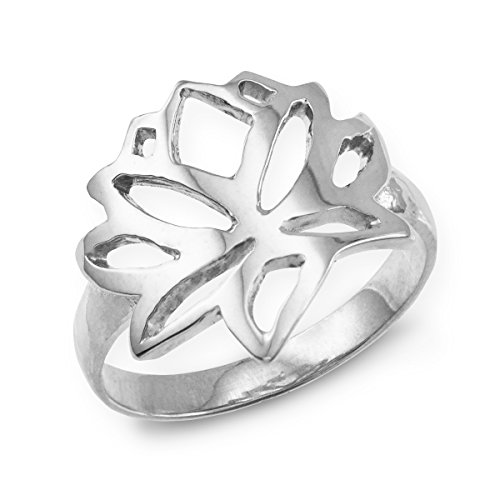 Dainty 925 Sterling Silver Cutout Blossom Band Lotus Flower Ring (Size 9.75)
