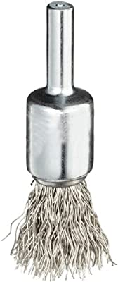 "Weiler Wire End Brush, Solid End, Round Shank, Stainless Steel 302, Crimped Wire, 1/2"" Diameter, 0.014"" Wire Diameter, 1/4"" Shank, 25000 rpm (Pack of 1)"