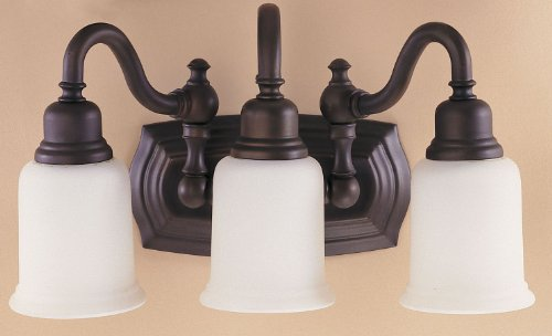 "Feiss VS8003-ORB Canterbury Glass Wall Vanity Bath Lighting, Bronze, 3-Light (18.5""W x 9""H) 300watts from Murray Feiss"