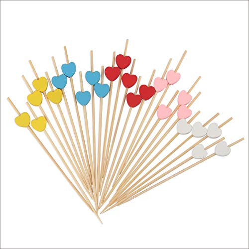 150 Counts Multi Colored Heart Skewers for Appetizers Fruit Kabobs Long Bamboo Cocktail Picks Wedding Birthday Valentines Party Toothpicks Food Drinks Decor Disposable 4.7