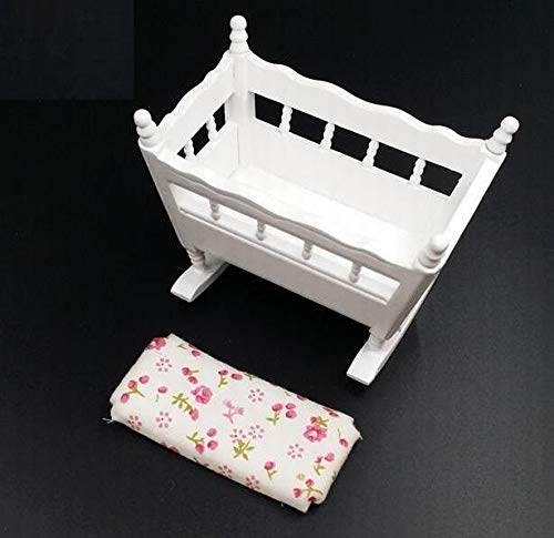 - EatingBiting(R) 1:12 Dollhouse Miniature Wooden Crib Baby Doll Cradle Bed for Children Kid Room , DIY Scene Doll Home Furniture Craft Accessoreis .