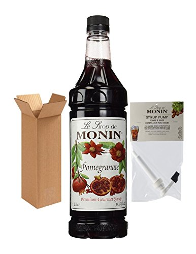 Monin Pomegranate Syrup, 33.8-Ounce Plastic Bottle (1 Liter) with Monin BPA Free Pump, - Monin Pomegranate