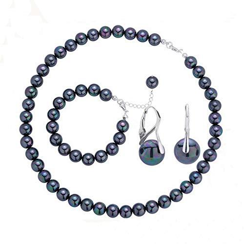 (Rakumi Sterling Silver 8mm Black Seashell Pearl Necklace Bracelet and Earrings Set)