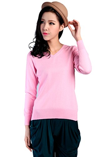 GetUBacK Womens Solid V-neck Slim Cashmere Pullover Sweater Pink Chinese XL (Slim Solid V-neck)