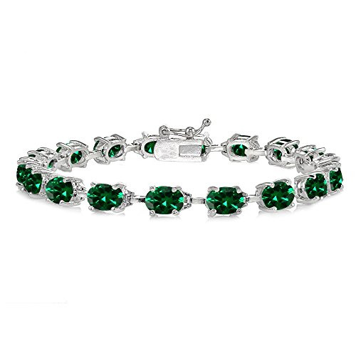 Sterling Silver Simulated Emerald 7x5mm Oval Classic Link Tennis - 7x5mm Emerald Sterling