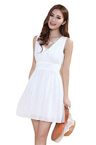 Bluetime Womens Backless Sleeveless Ruffles Chiffon Skirt Dress White