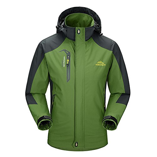 BIYLACLESEN Men's Hooded Sportswear Windproof Outdoor Waterproof Raincoat