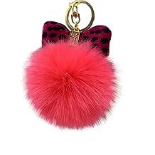 Tenworld Faux Fur Pom Pom Ball Keychain Handbag Key Ring Car Key Charm