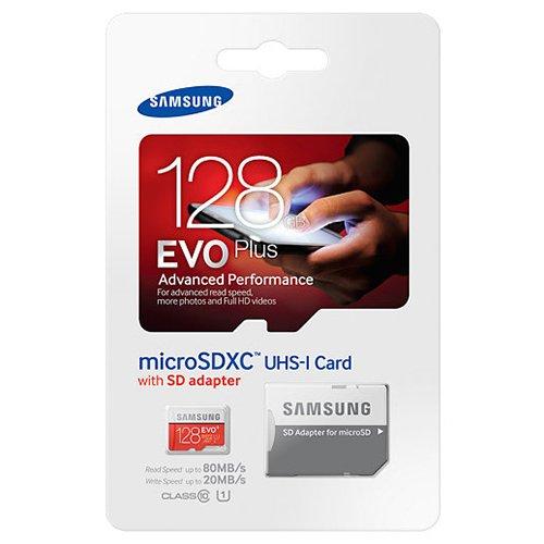 Samsung Evo Plus 128GB MicroSD XC Class 10 UHS-1 Mobile Memory Card for Samsung Galaxy J3 J1 Nxt Ace A9 A7 A5 A3 Tab A 7.0 E 8.0 View On7 On5 Z3 with MemoryMarket MicroSD & SD Memory Card Reader