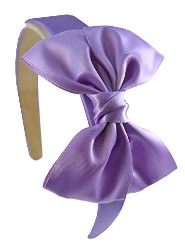 Girls Satin Bow Headband Funny Girl Designs (LAVENDER) (Headbands Lavender Girl)