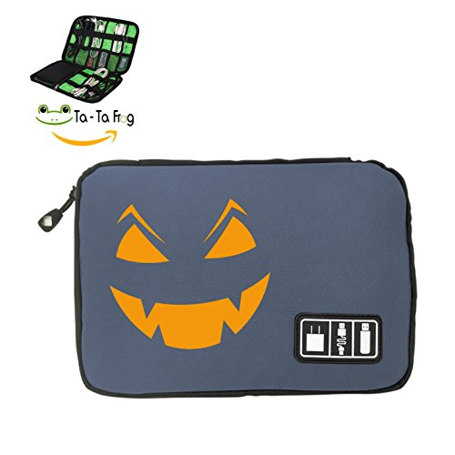 Halloween Pumpkin Big Face Electronic Accessories Travel Bag Multi-function Mobile Phone Charger Data Cable Storage Bag Mini Portable Anti-pressure Square Earphone Storage Box - Face Square Texas