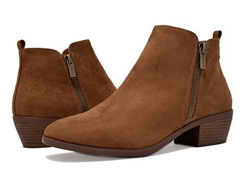 Booties Zipper Women's Block Cowboy Suede Tan Side Heel TOETOS Ankle nwv0XSqSf