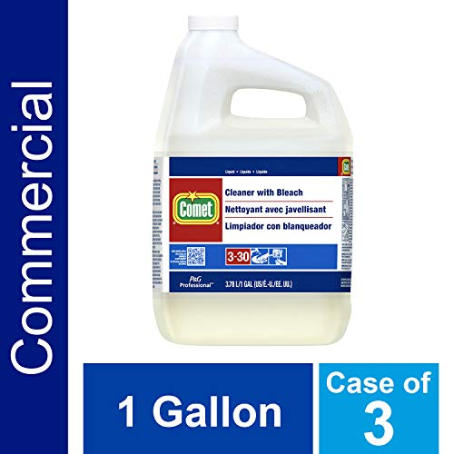 Multi-Purpose Liquid Cleaner with Bleach by Comet Professional, Disinfectant and Sanitizer Wipes up Pathogens, Ready to Use Bulk Refill for Commercial Kitchen and Bathroom Uses, 1 gal. (Case of 3)