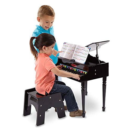 Melissa & Doug Learn-to-Play Classic Grand Piano (Mini Keyboard with 30 Hand-Tuned Keys, Non-Tipping Bench, Great Gift for Girls and Boys - Best for 4, 5, and 6 Year Olds)