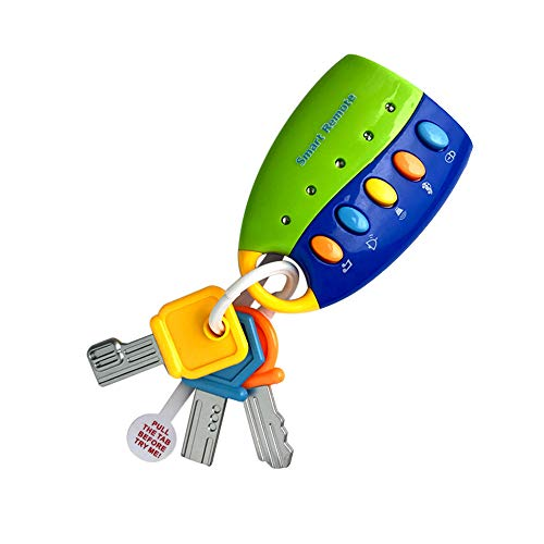 LtrottedJ Toy Keys for Toddlers and Baby Toys-Toy Car Keys with Keychains, Light and Sound (Blue) -