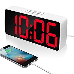 9 Large LED Digital Alarm Clock with USB Port for Phone Charger, Touch-Activited Snooze and Dimmer, Outlet Powered And Battery Backup