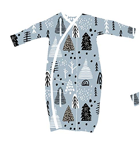 2 Pk 100% Organic Cotton Kimono Gown for Boy or Girl, with Easy Change Snaps and Built in Mitts, Bears and Forest (3-6 Months)