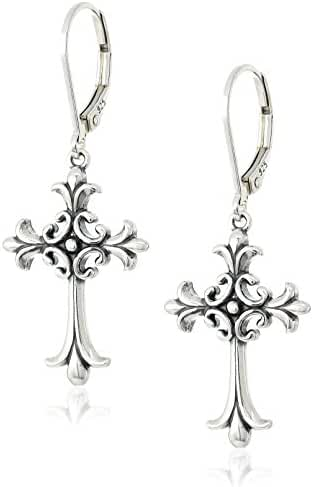 Sterling Silver Oxidized Celtic Cross Lever Back Earrings