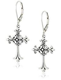 Sterling Silver Oxidized Celtic Cross Leverback Dangle Earrings
