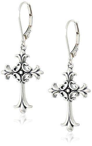 Sterling Silver Oxidized Celtic Cross Leverback Dangle Earrings ()