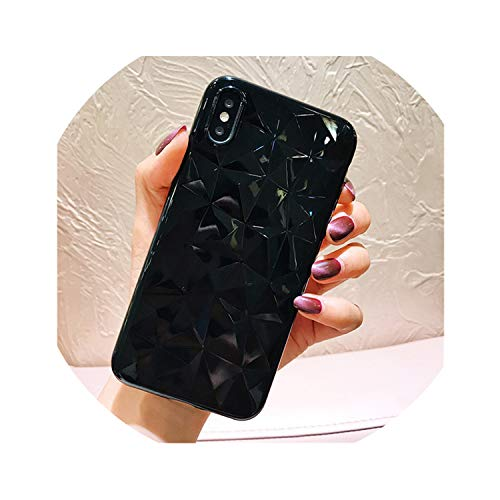 (Diamond Texture Case for iPhone 6 6s 7 8 Plus X XR XS Max Soft Phone Cover for iPhone 7 Luxury Transparent Ultra Thin,Black,for iPhone Xs Max)