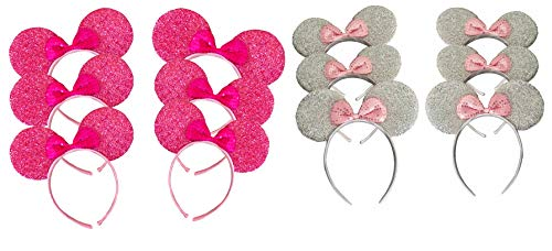 (Family Pack Mickey Mouse Style Ears Kids Adults/Minnie Style Girls Parties (12 Pack Sparkling (6 Silver, 6 Pink)))