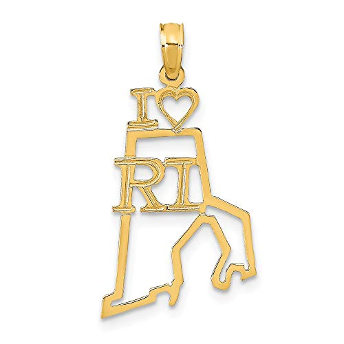 14K Yellow Gold Solid Rhode Island State Small Charm Pendant
