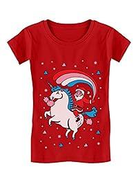 Santa Riding Unicorn Rainbow Ugly Christmas Girls' Fitted Kids T-Shirt