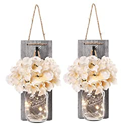 Besuerte Rustic Wooden Wall Hanging Decor with LED String Lights for Modern Living Room and Bedroom, Inspirational Country Style Vintage Wall Decoration Art, 6 Hour Timer Set of 2 Grey