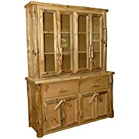 Rustic Pine Log Buffet and Hutch/ China Cabinet - Amish Made in USA (Michaels Cherry Stain)