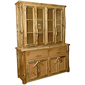 Beau Rustic Pine Log Buffet And Hutch/ China Cabinet   Amish Made In USA  (Michaelu0027s