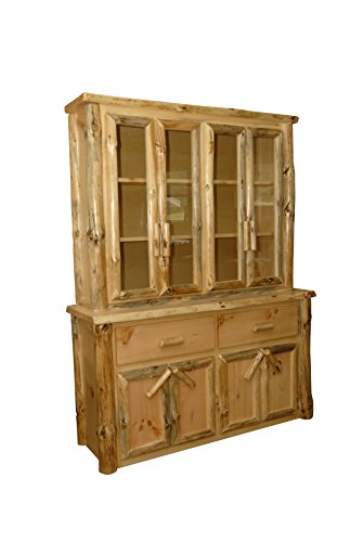 Rustic Pine Log Buffet and Hutch/ China Cabinet - Amish Made in USA (Michael's Cherry Stain) (Rustic Furniture Nh)