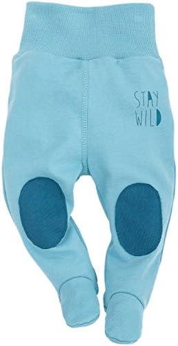 Pinokio - Wild Boy - Baby Hose 100% Baumwolle, türkis mit Aufschrift Stay Wild - Jogginghose, Schlafhose - elastischer Bund mit Füßchen