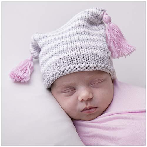 (Huggalugs Baby Striped Pink Tassel Newborn Girl Hospital Beanie Hat)
