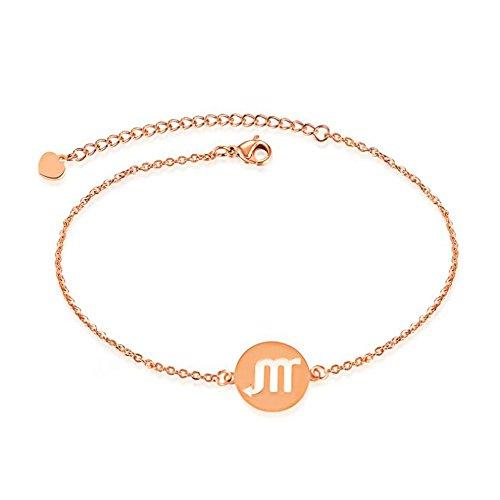 YOYOMA Women's Charm Bracelet,Constellation Bracelet Rose Gold Zodiac Cuff Bracelet Adjustable Bracelet for Couples (#8 Scorpio)