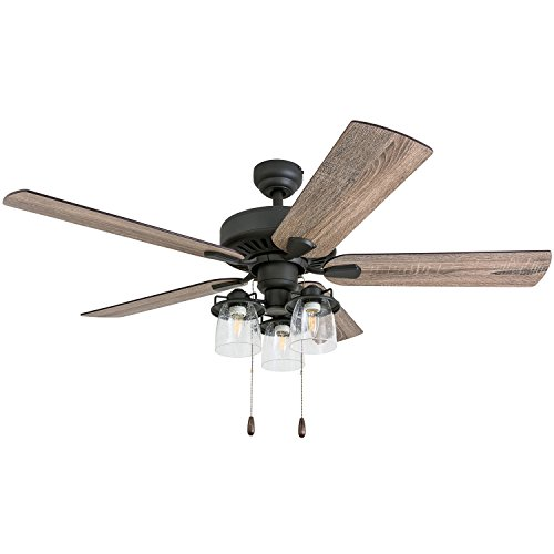 Prominence Home 50749-01 Briarcrest Farmhouse Ceiling Fan (3 Speed Remote) 52