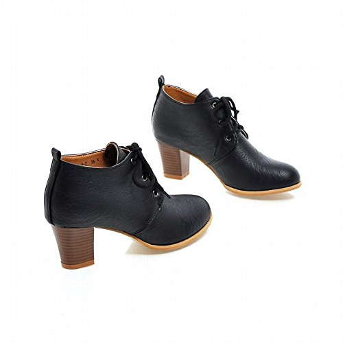 Carolbar Womens Mode Retro Vintage Charm Snörning Chunky Mid Häl Boots Svart