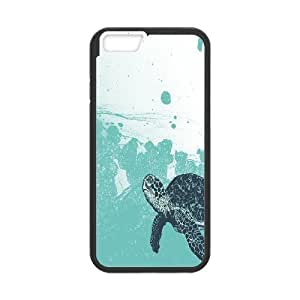iPhone 6 Plus Cases, Funny Cute Sea Foam Sea Turtle Print Blue Cases For iPhone 6 Plus {Black}
