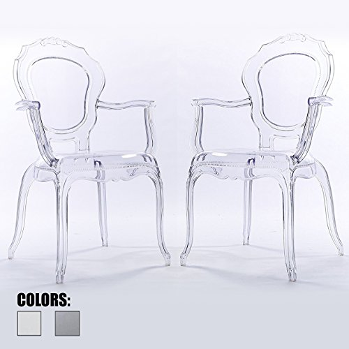 2xhome - Set of Two (2) - CLEAR - Belle Style Ghost Armchairs - Poly-carbonate Plastic Modern Mid Century Art Deco Designer Dining Arm (Bella Dining Chair)