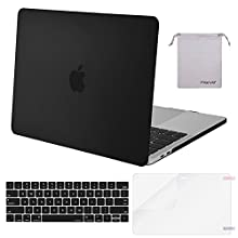 MOSISO MacBook Pro 15 Case 2018 2017 2016 Release A1990/A1707 Touch Bar Models, Plastic Hard Shell & Keyboard Cover & Screen Protector & Storage Bag Compatible Newest Mac Pro 15 Inch, Black