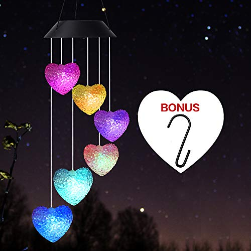 Wind Chime,Solar Wind Chimes Outdoor,Solar Heart/Hummingbird Wind Chime Outdoor Decor,Yard Decorations Solar Light Mobile,Memorial Wind Chimes,Mobile led(Gifts for mom,Birthday Gifts for mom)+S Hook (Christmas Decorations Mobile)