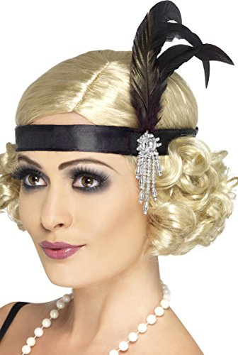 Smiffy's Adult Women's Satin Charleston Headband with Feather and Jewel Detail, Black, One Size, (Fancy Dress Costume)