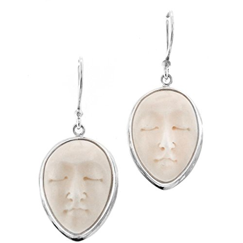 Hand Carving Goddess Buffalo Bone 925 Sterling Silver French Wires Earrings, 1
