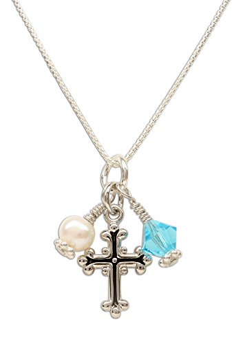 Girl's First Communion Sterling Silver March Swarovski-Created Birthstone Cross Necklace with Cultured Pearl]()