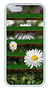 Grass Shelves with Sunflowers Customizable TPU Cases & Covers for iPhone 5S/5 - White