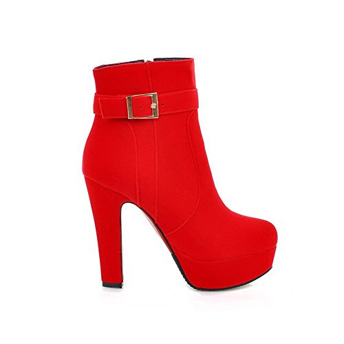 AmoonyFashion Womens Ankle-high Zipper Frosted High-Heels Round Closed Toe Boots Red Izn4wkf2H