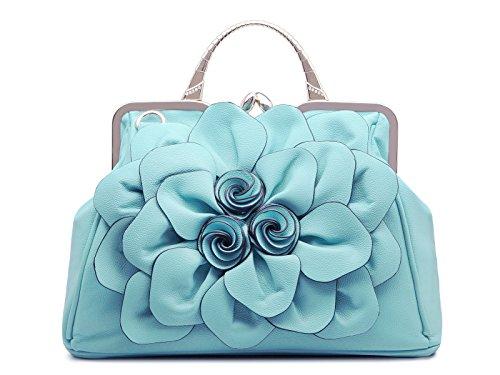 à Cuir Sac a Bandoulière Trendstar Femme Bandouliere KAXIDY PU Sac Sac Satchel à Fleurs Sac Main Bleu élégant nYw7WqZ5