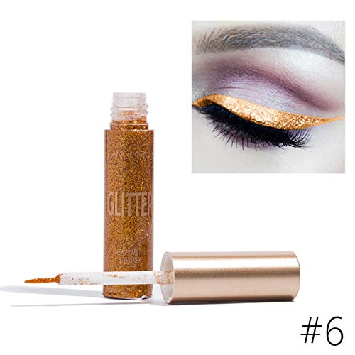 10 Colors Makeup Liquid Eyeliner Pen Glitter Eyeshadow Highlighter Long-Lasting Easy To WearBeauty Cosmetics A6 by WGRTT
