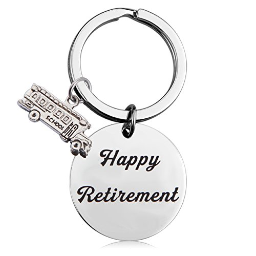 MAOFAED Retirement Gift Happy Retirement Keychain for Teacher Nurse RN MA Bus Driver Lawyer Dentist (Bus Driver Retirement Gift) ()